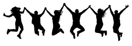 Компания друзей, счастливый скача силуэт людей иллюстрация штока