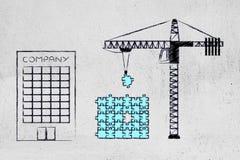 Компания и кран фиксируя головоломку с отсутствующей частью, sol строения иллюстрация вектора