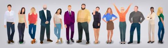 Компания людей на серой предпосылке, векторе иллюстрация штока