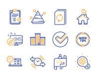 Компания, одобренный контрольный списоок и значки онлайн-теста набор  иллюстрация вектора