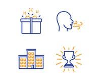 Компания, особенное предложение и дыша набор значков тренировки Знак трофея Здание, коробка доставки, дыхание r бесплатная иллюстрация