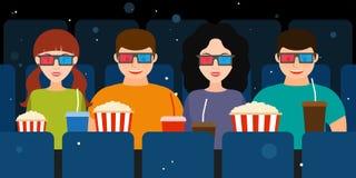 Компания 2 пар в кино в векторе стекел 3D иллюстрация штока