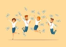 Компания празднуя выигрыш лотереи иллюстрация штока