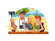Компания друзей делая selfies бесплатная иллюстрация