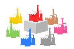 Компания-учредитель на фирмах постамента и дочери дополнитеельных вокруг иллюстрация вектора