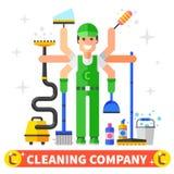 Компания чистки иллюстрация вектора
