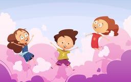 Компания шаловливых детей скача против розовых облаков иллюстрация вектора