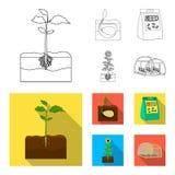 Компания, экологичность, и другой значок сети в плане, плоском стиле Шелухи, штрафы, значки сада в собрании комплекта иллюстрация штока