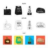 Компания, экологичность, и другой значок сети в черной, плоский, стиль плана Шелухи, штрафы, значки сада в собрании комплекта иллюстрация штока