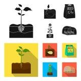 Компания, экологичность, и другой значок сети в черном, плоском стиле Шелухи, штрафы, значки сада в собрании комплекта бесплатная иллюстрация