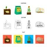 Компания, экологичность, и другой значок сети в шарже, плане, плоском стиле Шелухи, штрафы, значки сада в собрании комплекта иллюстрация штока
