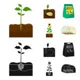 Компания, экологичность, и другой значок сети в шарже, черном стиле Шелухи, штрафы, значки сада в собрании комплекта иллюстрация штока