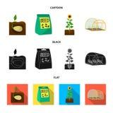 Компания, экологичность, и другой значок сети в шарже, черноте, плоском стиле Шелухи, штрафы, значки сада в собрании комплекта иллюстрация штока