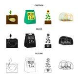 Компания, экологичность, и другой значок сети в шарже, черноте, стиле плана Шелухи, штрафы, значки сада в собрании комплекта иллюстрация штока