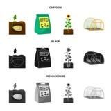 Компания, экологичность, и другой значок сети в шарже, черноте, monochrome стиле Шелухи, штрафы, значки сада в собрании комплекта бесплатная иллюстрация