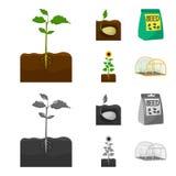 Компания, экологичность, и другой значок сети в шарже, monochrome стиле Шелухи, штрафы, значки сада в собрании комплекта иллюстрация штока