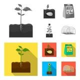 Компания, экологичность, и другой значок сети в monochrome, плоском стиле Шелухи, штрафы, значки сада в собрании комплекта иллюстрация штока