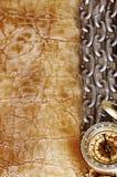Компас, анкер и цепь на винтажной старой бумаге Стоковое Изображение RF