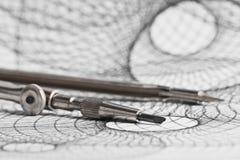 Компас и геометрические формы Стоковые Изображения