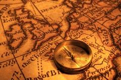 Компас и карта Великобритании и европы Стоковое фото RF