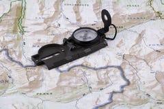 Компас и карта Стоковое Изображение RF