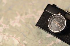 Компас камеры на карте Стоковые Фото