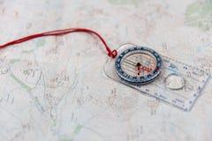 Компас на карте Стоковое Фото