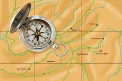 компас busi указывая к trusty путю Стоковые Фото
