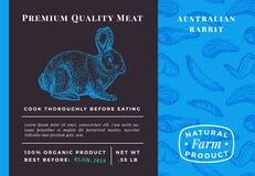Комплексное конструирование или ярлык наградного качественного кролика вектора мяса абстрактного Современное оформление и вручить иллюстрация штока