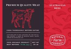 Комплексное конструирование или ярлык наградной качественной говядины вектора мяса абстрактной Современный эскиз коровы оформлени иллюстрация вектора