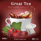 Комплексное конструирование чая Чашка с выплеском чая путь виноградин клиппирования пука включенный стоковое изображение rf