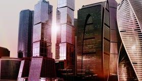 Комплекс города Москвы офисного здания небоскреба Технология дела Предпосылка архитектуры города корпорации современная Стоковые Изображения RF