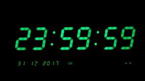 Комплекс предпусковых операций Secounds цифровых часов 10 до 2018 на черной предпосылке видеоматериал