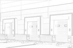 Комплекс снабжения склада нагружая ворота иллюстрация штока