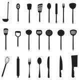 Комплекты инструментов кухни силуэта Стоковые Изображения