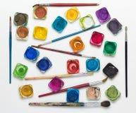 Комплекты используемых красок акварели Стоковое Изображение