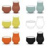 Комплекты пар чашки чая ароматности различной cly печатают иллюстрация вектора