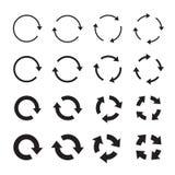 Комплекты черных стрелок круга иконы предпосылки легкие заменяют вектор тени прозрачный Стоковая Фотография