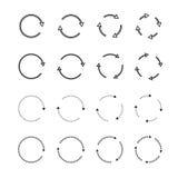 Комплекты черных стрелок круга иконы предпосылки легкие заменяют вектор тени прозрачный иллюстрация вектора