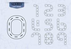 Комплект абстрактного номера вектора черноты стиля дороги логотипа Стоковая Фотография RF