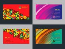 Комплект абстрактного творческого шаблона плана дизайна визитной карточки с красочной предпосылкой предпосылки самомоднейшие иллюстрация штока