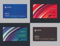 Комплект абстрактного творческого шаблона плана дизайна визитной карточки с красочной предпосылкой иллюстрация штока