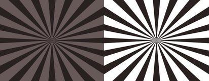 Комплект абстрактного sunburst 2 striped предпосылки вектора коричневые Предпосылки Sunburst иллюстрация вектора