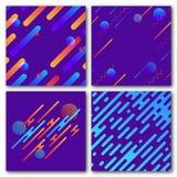 Комплект абстрактных геометрических предпосылок Современная динамическая картина Округленные раскосные линии с кругами, волнами Стоковые Изображения RF