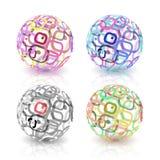 Комплект абстрактных глобусов сделанных от ретро прямоугольников. Стоковые Изображения