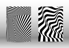 Комплект абстрактных картин с передернутыми линиями иллюстрация штока