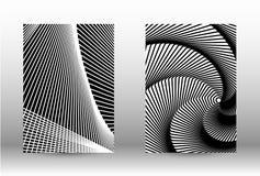 Комплект абстрактных картин с передернутыми линиями иллюстрация вектора