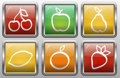 Комплект абстрактных кнопок с изображением плодоовощей Стоковое Изображение