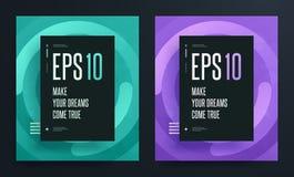 Комплект абстрактных красочных плакатов с ярким чистым цветом предпосылки Иллюстрация EPS 10 Бесплатная Иллюстрация