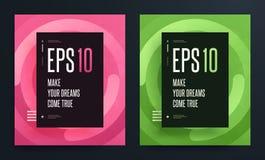 Комплект абстрактных красочных плакатов с ярким чистым цветом предпосылки Иллюстрация EPS 10 Стоковое Изображение RF